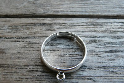 Ring in maat verstelbaar 16mm met oogje - zilver