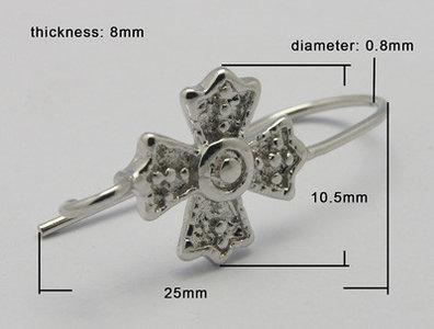 Oorhanger  25 x 10mm, kruisje - platium