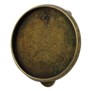 Clip oorbel met plakvlak 18mm - brons
