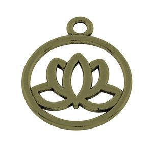 Metalen hangertje lotus 20x3mm - oudbrons