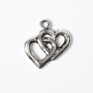 Metalen hanger hartjes 18x15mm - oudzilver
