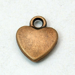 Metalen hanger hartje 12x10mm - roodkoper