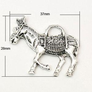 Metalen hangertje paard 37x28x4mm - oudzilver