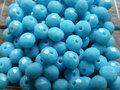 Imitatienatuursteen jade rondel facet 8x6mm - blauw